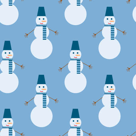Seamless pattern with interesting snowman on blue background for fabric, textile, clothes, tablecloth and other things. Vector image.