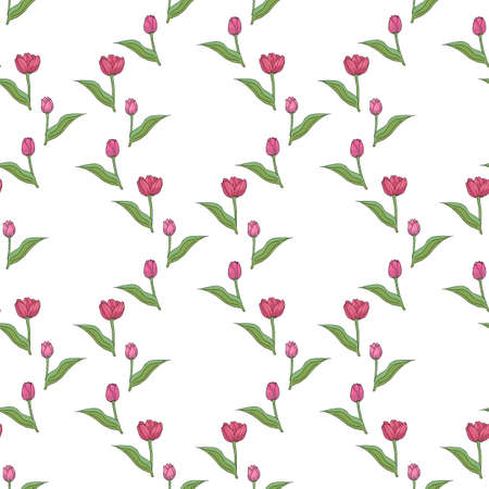 Seamless pattern with fascinating pink tulips on white background for fabric, textile, clothes, tablecloth and other things. Vector image.
