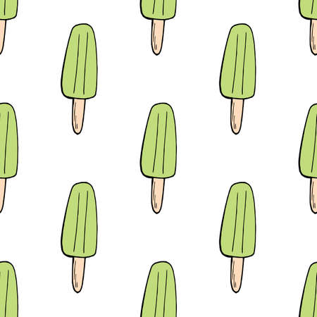 Seamless background with pistachio ice cream. Endless pattern on white background. Vector image. Sweet food.