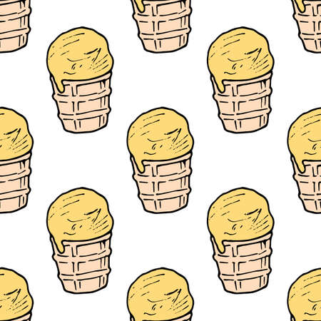 Seamless background with banana ice cream in a waffle cup. Endless pattern on white background. Vector image. Sweet food. 矢量图像