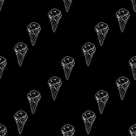 Seamless pattern with great cozy ice cream on black background. Vector image. 矢量图像