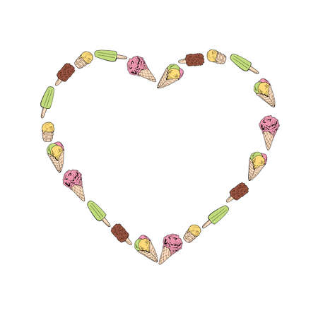 Heart frame with colored ice cream. Hand drawn ice cream on white background for your design. 矢量图像
