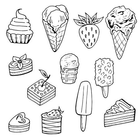A set of black-and-white different cakes and ice cream. Isolated food elements on white background for your design.