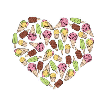 Heart made of colored ice cream. Hand drawn ice cream on white background for your design.