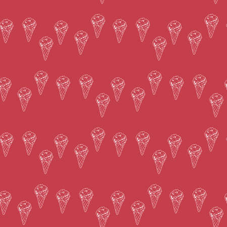 Seamless pattern with great creative ice cream on berry red background. Vector image.