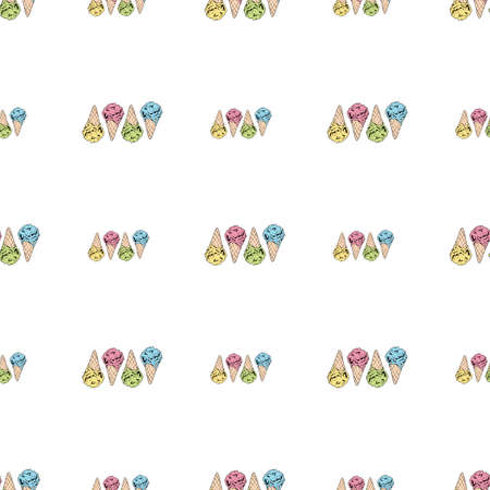 Seamless background with yellow, pink, green and blue ice cream cones. Endless pattern with colorful ice cream for your design.