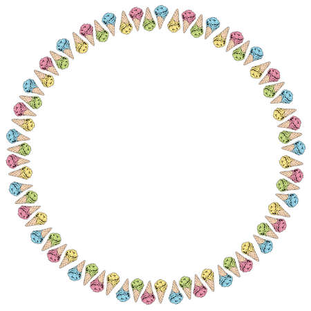 Round frame with yellow, pink, green and blue ice cream cones. Isolated frame of colorful ice cream for your design. 矢量图像