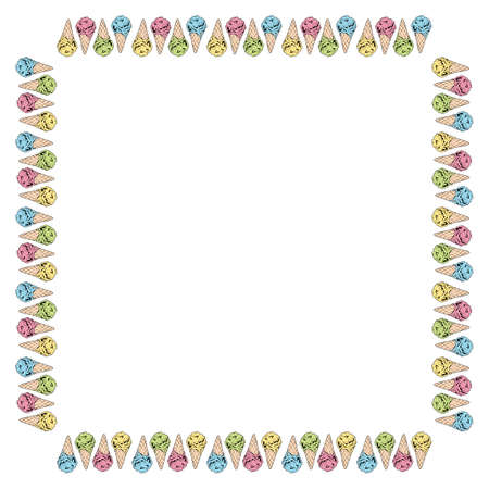 Square frame with yellow, pink, green and blue ice cream cones. Isolated frame of colorful ice cream for your design.