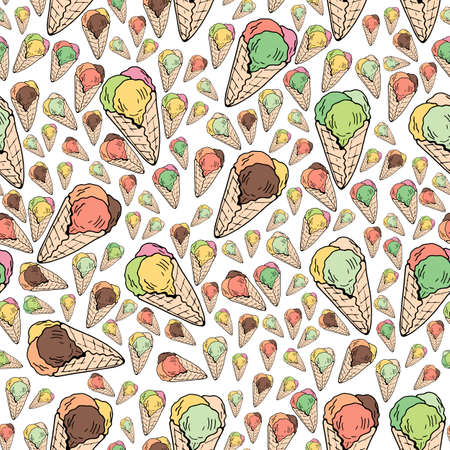 Seamless background of multicolored ice cream cones. Endless pattern with colorful ice cream for your design.