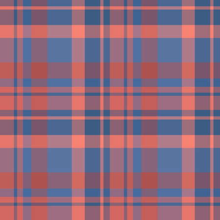 Seamless pattern in fascinating red and dark blue colors for plaid, fabric, textile, clothes, tablecloth and other things. Vector image.