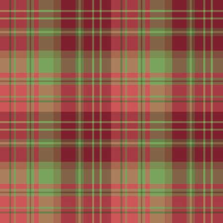 Seamless pattern in fascinating cute christmas burgundy, red and green colors for plaid, fabric, textile, clothes, tablecloth and other things. Vector image.