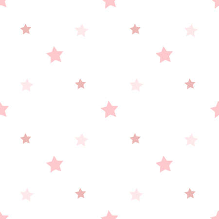 Seamless pattern in charmed light pink stars on white background for plaid, fabric, textile, clothes, tablecloth and other things. Vector image. Ilustración de vector