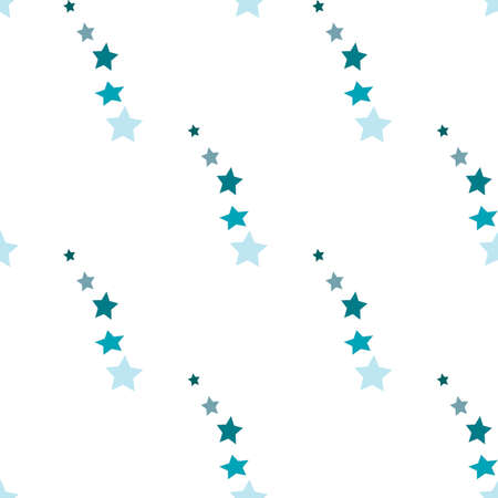 Seamless pattern in charmed beautiful stars on white background for plaid, fabric, textile, clothes, tablecloth and other things. Vector image.