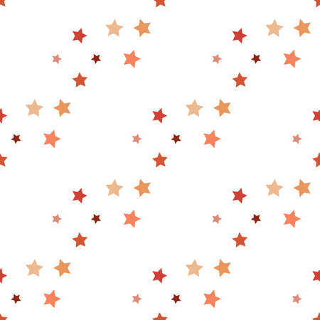 Seamless pattern in charmed cozy orange stars on white background