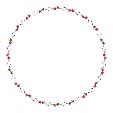 Round frame with cozy horizontal carnation on white background. Isolated floral frame for your design. Vector image. 矢量图像