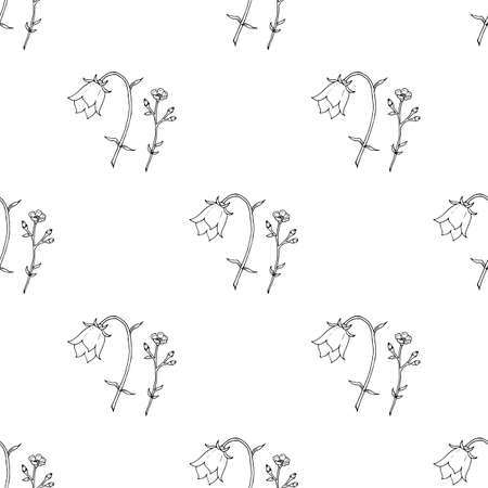 Seamless pattern with black-and-white flower bell and buttercup for fabric, textile, clothes, tablecloth, post cards and other things. Endless background for your design. Vector image.