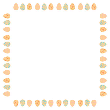 Square frame with Easter eggs on white background. Vector image. Vettoriali