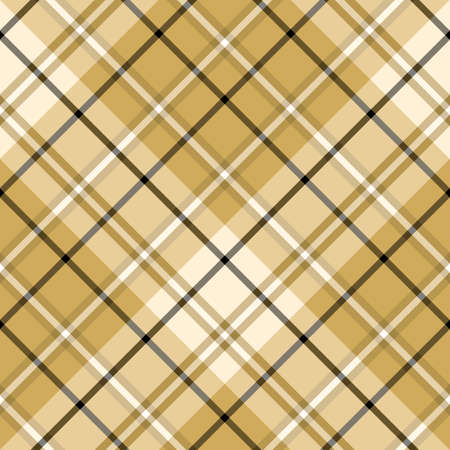 Seamless pattern in awesome light and dark beige and black colors for plaid, fabric, textile, clothes, tablecloth and other things. Vector image.