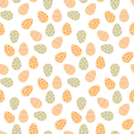 Seamless pattern with positive Easter eggs on white background. Vector image.