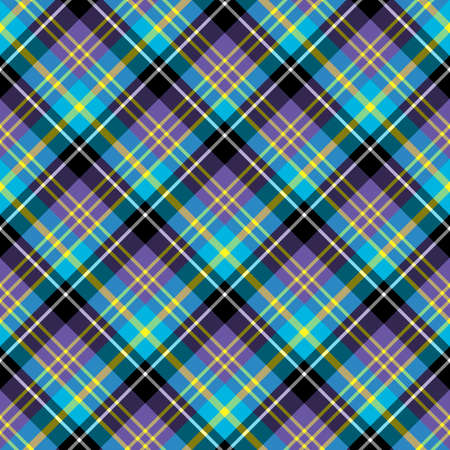 Seamless pattern in interesting bright violet, yellow, black and blue colors for plaid, fabric, textile, clothes, tablecloth and other things. Vector image.
