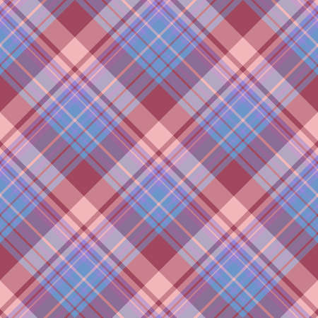 Seamless pattern in interesting blue, violet, pink and dark red colors for plaid, fabric, textile, clothes, tablecloth and other things. Vector image.