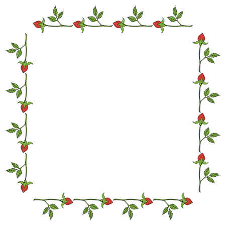Square frame with horizontal red rose buds on white background. Vector image.