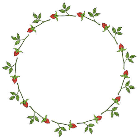 Round frame with horizontal red rose buds on white background. Vector image.