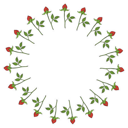 Round frame with vertical red rose buds on white background. Vector image. Illusztráció