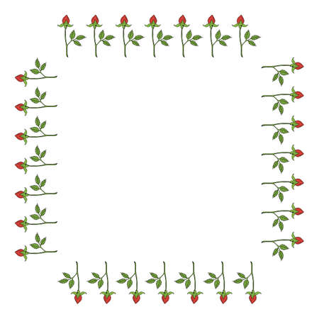 Square frame with vertical red rose buds on white background. Vector image.