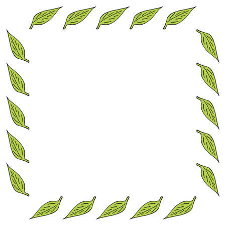Square frame with green leaves on white background. Vector image. Illusztráció