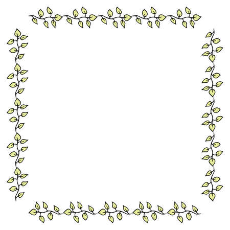 Square frame with green branches on white background. Vector image.