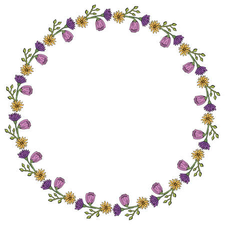 Round frame with summer flowers on white background. Vector image.