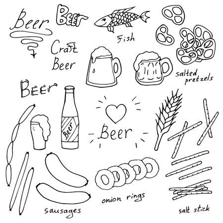 Set with black-and-white beer and various snacks on white background. Vector image.