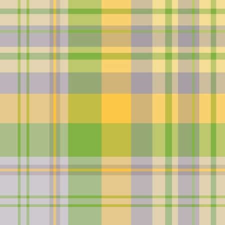 Seamless pattern in fascinating cute gray, yellow and green colors for plaid, fabric, textile, clothes, tablecloth and other things. Vector image.