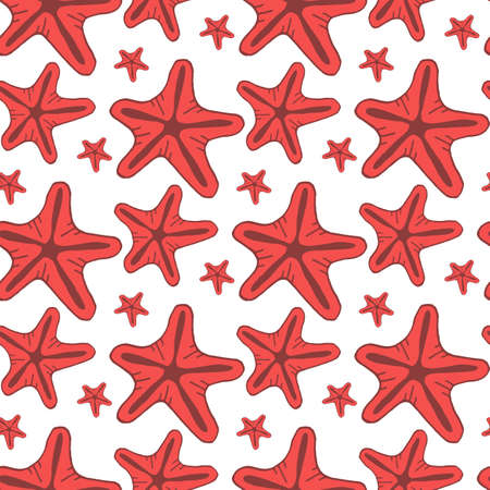 Seamless pattern with red starfish on white background. Vector image. Ilustrace