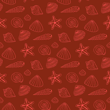 Seamless pattern with red sea shells and starfish on dark red background. Vector image. Ilustrace