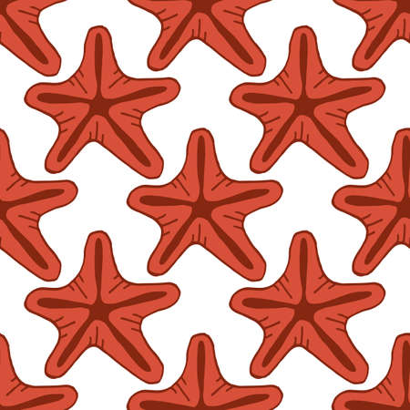 Seamless pattern with positive starfish on white background. Vector image.