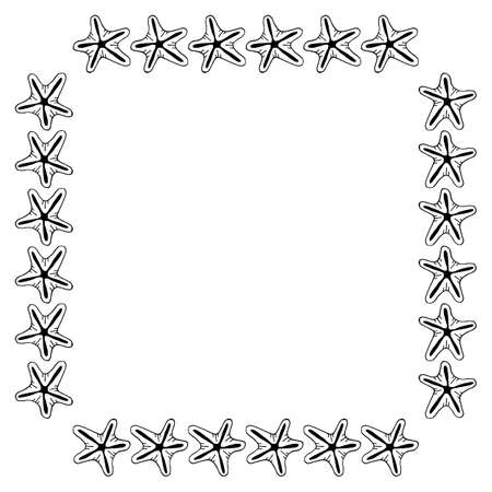 Square frame with starfish on white background. Vector image.