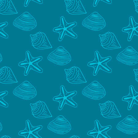 Seamless pattern with light blue sea shells and starfish on dark blue background. Vector image.