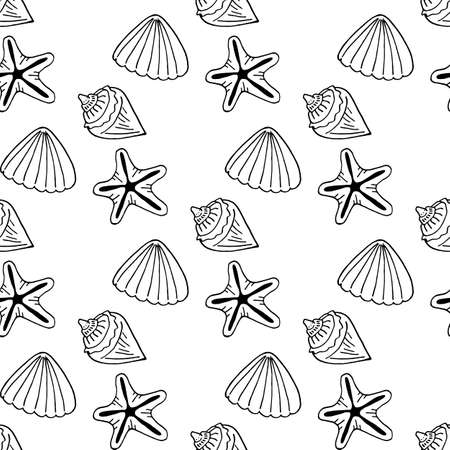Seamless pattern with black-and-white sea shells and starfish on white background. Vector image.