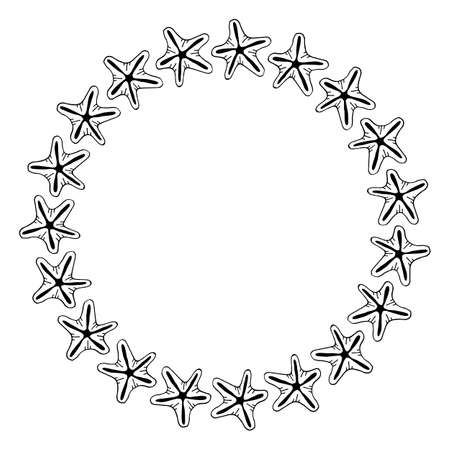 Round frame with starfish on white background. Vector image. Ilustrace