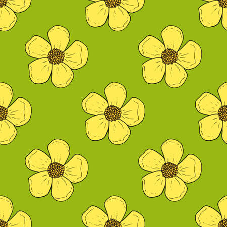 Seamless pattern with yellow buttercups on bright green background for fabric, textile, clothes, tablecloth and other things. Vector image.