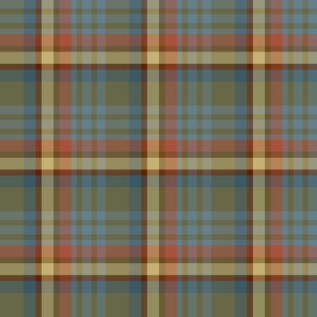 Seamless pattern in creative dark swamp green, blue, yellow, red and gray colors for plaid, fabric, textile, clothes, tablecloth and other things. Vector image.