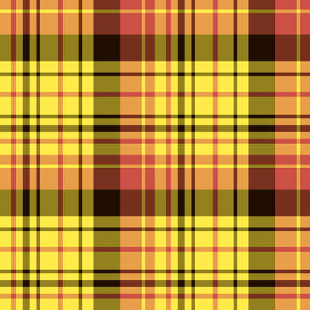 Seamless pattern in fascinating bright yellow, black and red colors for plaid, fabric, textile, clothes, tablecloth and other things. Vector image.