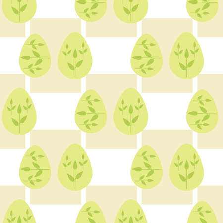 Seamless pattern with green Easter eggs. Vector image.