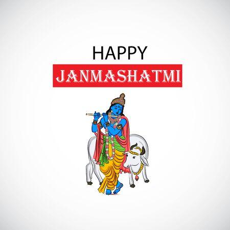 Vector illustration of a Poster or Banner for Indian festival For Happy Janmashtami Celebration.