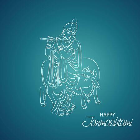 Illustrazione vettoriale di un poster o un banner per il festival indiano per la felice celebrazione di Janmashtami.