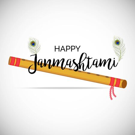 Vector illustration of a Poster or Banner for Indian festival For Happy Janmashtami Celebration.