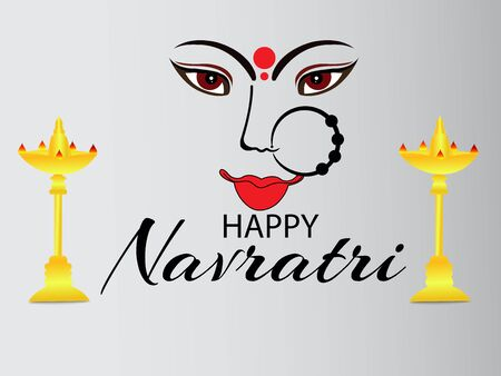 Vector illustration of a background Or poster for Happy Navratri. Stock Vector - 128855487