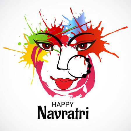 Vector illustration of a background Or poster for Happy Navratri. Stock Vector - 128855493